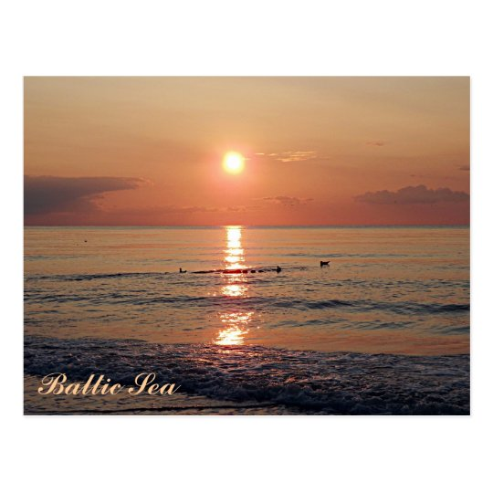 Beautiful Sunset at Baltic Sea Photo Postcards