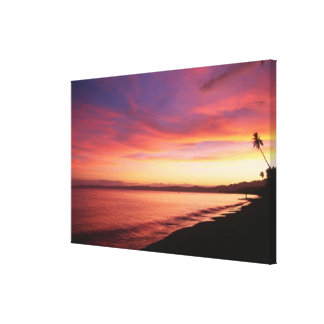 Beautiful sunset at the beach canvas print