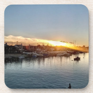 Beautiful Sunset at the Harbor in Balboa Island Coaster