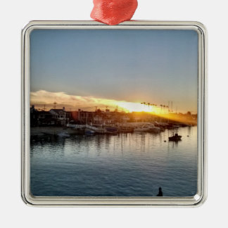 Beautiful Sunset at the Harbor in Balboa Island Metal Ornament