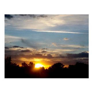 beautiful sunset blue yellow landscape relax postcard