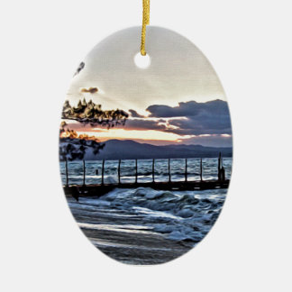 Beautiful Sunset in Montego Bay, Jamaica Ceramic Oval Ornament