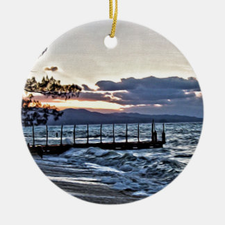 Beautiful Sunset in Montego Bay, Jamaica Round Ceramic Ornament