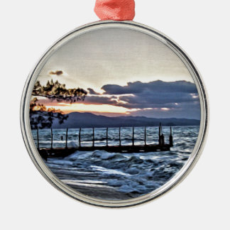 Beautiful Sunset in Montego Bay, Jamaica Silver-Colored Round Ornament