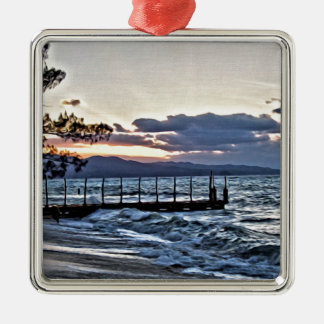 Beautiful Sunset in Montego Bay, Jamaica Silver-Colored Square Ornament
