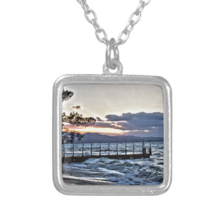 Beautiful Sunset in Montego Bay, Jamaica Silver Plated Necklace