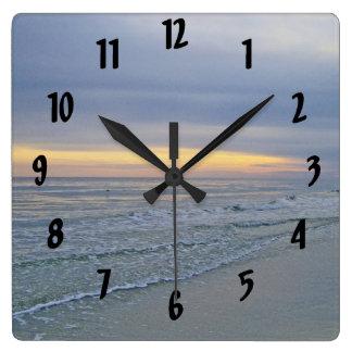 Beautiful Sunset Oak Island Seashore Square Wall Clock