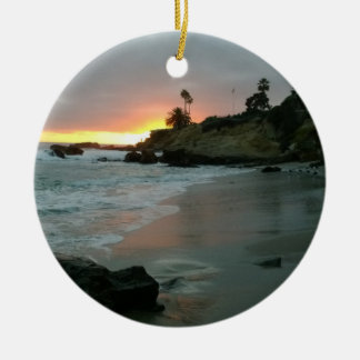 Beautiful Sunset on the Shore Cliffs Round Ceramic Ornament