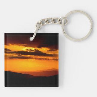 Beautiful sunset photo Double-Sided square acrylic keychain