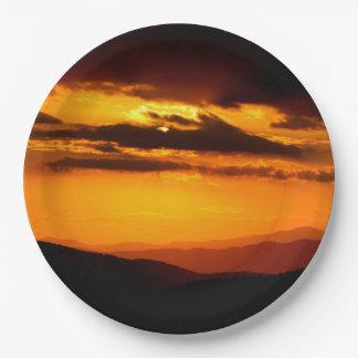 Beautiful sunset photo paper plate