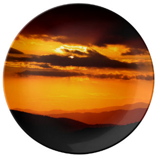 Beautiful sunset photo porcelain plates