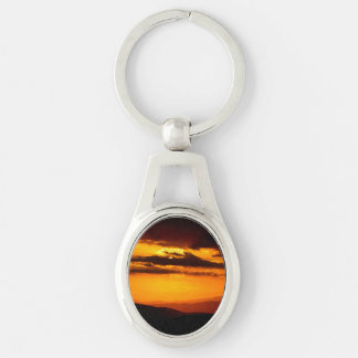 Beautiful sunset photo Silver-Colored oval keychain