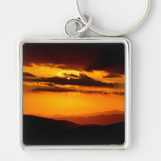Beautiful sunset photo Silver-Colored square keychain
