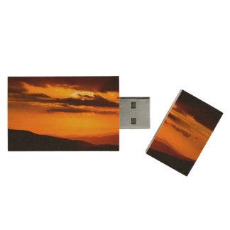 Beautiful sunset photo wood USB 2.0 flash drive