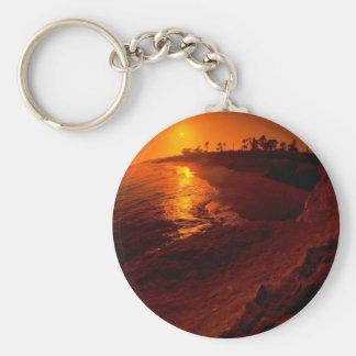 Beautiful Sunset: Santa Barbara, California Basic Round Button Keychain