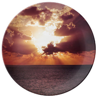 Beautiful sunset scenery plate