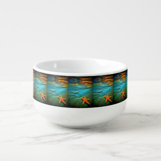 beautiful sunset starfish on beach soup mug
