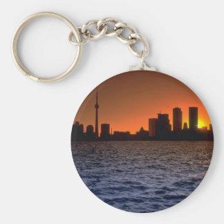 Beautiful Sunset: Toronto skyline at sunset, Ontar Basic Round Button Keychain