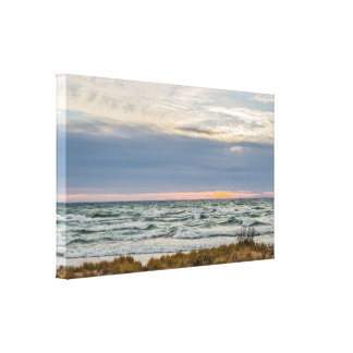 Beautiful Sunset with Whitecaps on Lake Michigan Canvas Print