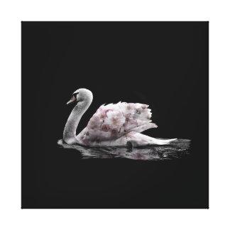 Beautiful  Swan Flower Double Exposure Photo Canvas Print