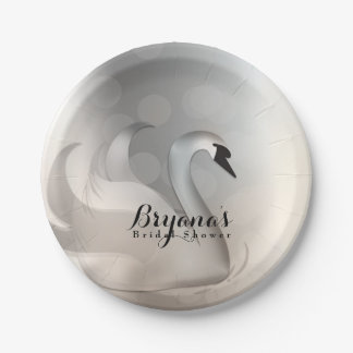 Beautiful Swan Silver Chic Elegant Party Paper Plate