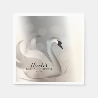 Beautiful Swan White & Silver Elegant Custom Party Paper Napkins
