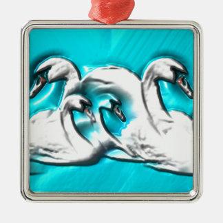 Beautiful swans metal ornament