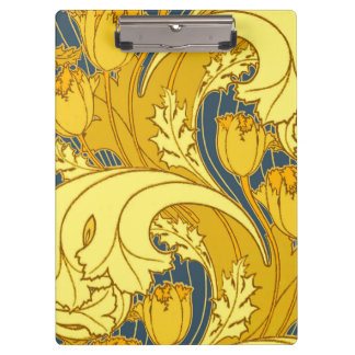 Beautiful Swirling Blue Gold Floral Clipboard