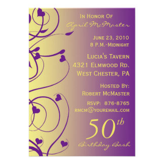 Beautiful Swirls 50th Birthday Invitation