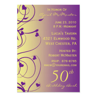 Beautiful Swirls 50th Birthday Invitation