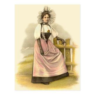 Beautiful Swiss Woman in Traditional Costume, Bern Postcard