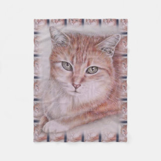Beautiful Tabby Cat Art Drawing for Cat Lovers Fleece Blanket