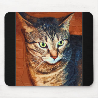 Beautiful Tabby Cat Artistic Mouse Pad