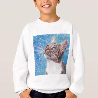 Beautiful Tabby Cat in Snow Fine Art Sweatshirt
