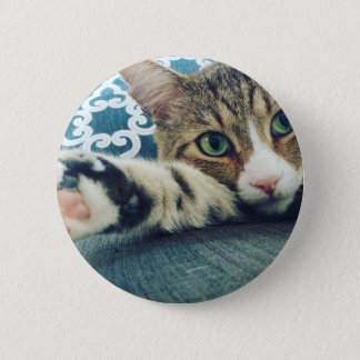Beautiful Tabby Cat with Green Eyes 2 Inch Round Button