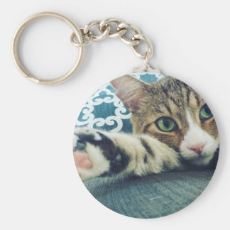 Beautiful Tabby Cat with Green Eyes Keychain