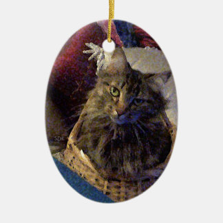 Beautiful Tabby Maine Coon Kitty Cat in a Basket Ceramic Ornament