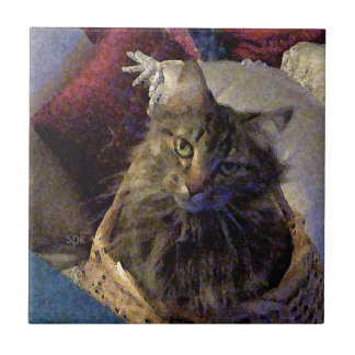 Beautiful Tabby Maine Coon Kitty Cat in a Basket Ceramic Tiles