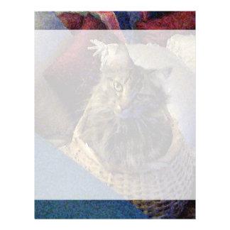 Beautiful Tabby Maine Coon Kitty Cat in a Basket Letterhead