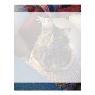 Beautiful Tabby Maine Coon Kitty Cat in a Basket Letterhead Template