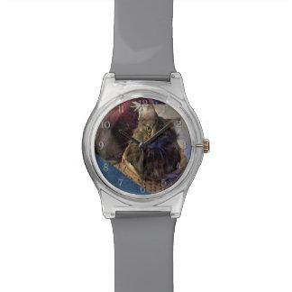 Beautiful Tabby Maine Coon Kitty Cat in a Basket Wrist Watch