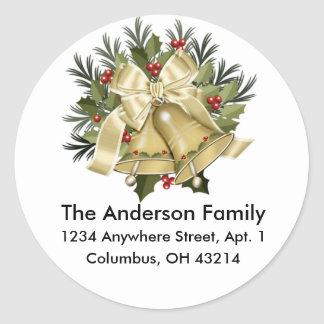Beautiful Tan Christmas Bells Round Address Label