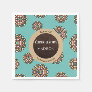 Beautiful Teal Abstract Graduation Paper Napkins
