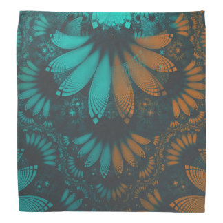 Beautiful Teal and Orange Paisley Fractal Feathers Bandana