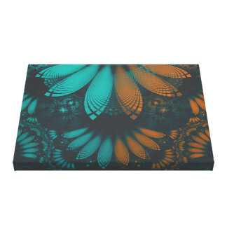 Beautiful Teal and Orange Paisley Fractal Feathers Canvas Print