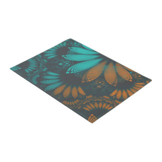 Beautiful Teal and Orange Paisley Fractal Feathers Doormat