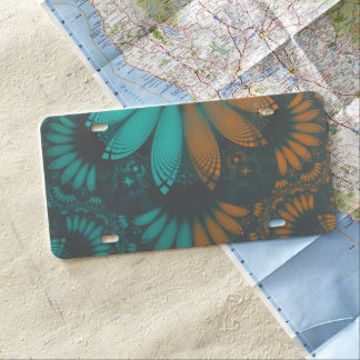 Beautiful Teal and Orange Paisley Fractal Feathers License Plate