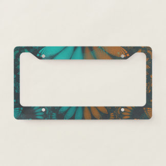 Beautiful Teal and Orange Paisley Fractal Feathers License Plate Frame