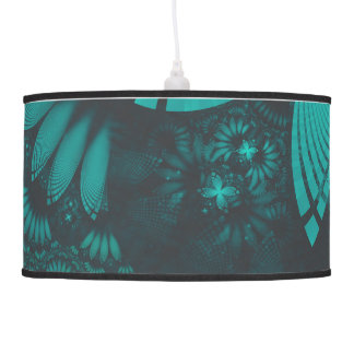 Beautiful Teal and Orange Paisley Fractal Feathers Pendant Lamp