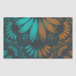 Beautiful Teal and Orange Paisley Fractal Feathers Sticker